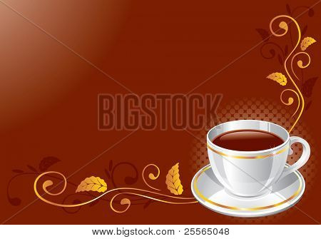 white glossy cup with strong coffee or tea, vector illustration