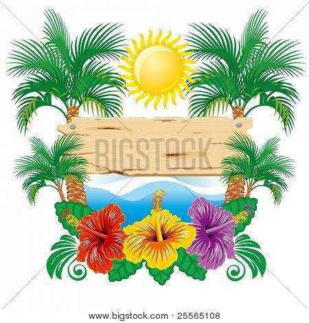 Beautiful vector tropical label width hibiscus