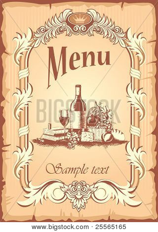wine list with a still life in the ancient style