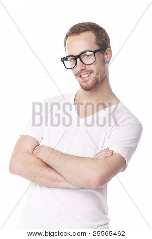 Good Looking Man With Retro Nerd Glasses Smiling