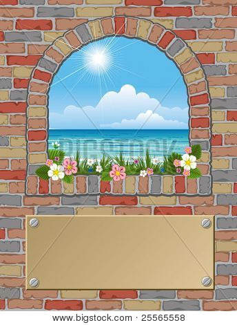 ancient arch window with sea-view