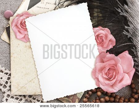grunge paper for congratulation,  invitation or memories scrapbook on the vintage background