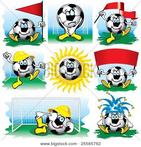 Bola de futebol do Cartoon, vector set