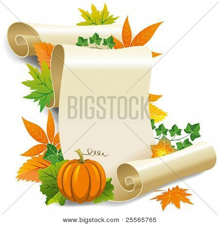 Roll of old paper and autumn leaves. Vector illustration, isolated on white background.
