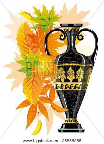Antique amphora with autumn leaves, excellent element for you design