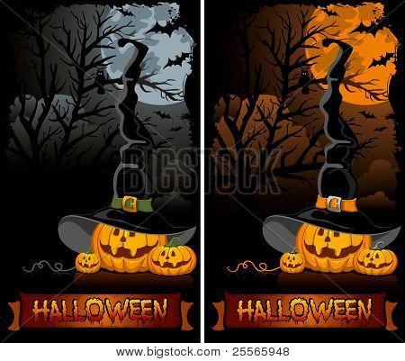 calabaza de Halloween en el sombrero de la bruja negra