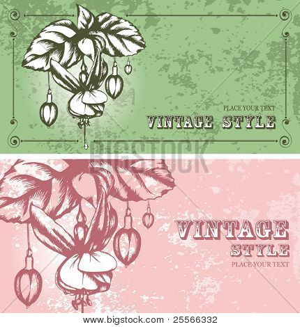 two vintage floral backgrounds with fuchsia