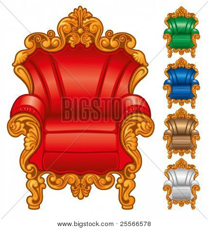 Old antique armchair on a white background