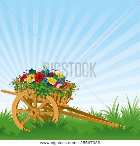 vintage wooden cart, detailed vector illustration