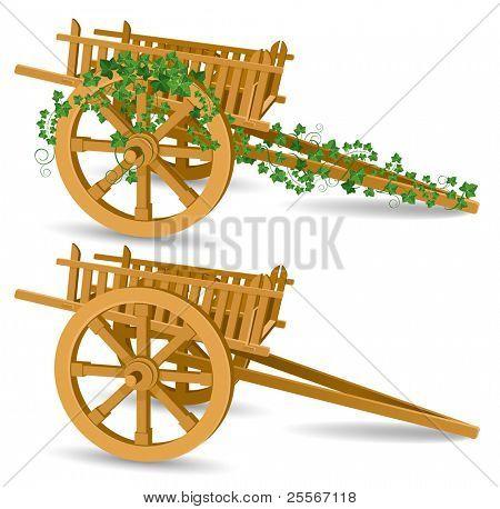 carrinho de madeira vintage, ilustração vetorial detalhada