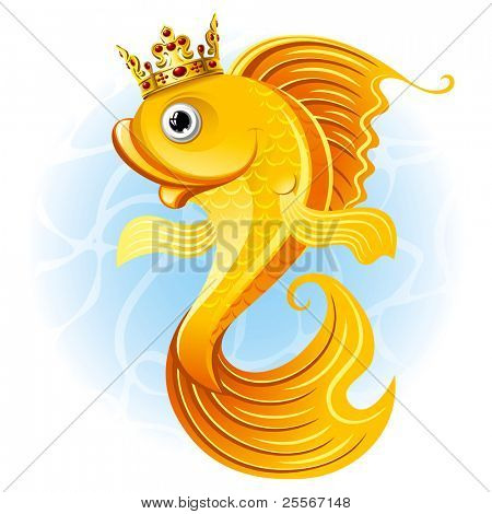 Magic goldfish with a crown