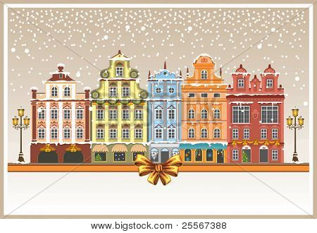 Christmas vintage card with the urban landscape and snowfall. Detailed vector picture.