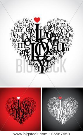 heart shaped letters love typographic composition with i love you text - isolated on black, white and red backgrounds (VECTOR version)