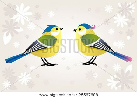 tit birds on a spring background with flowers