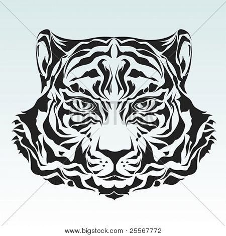 Tiger head black silhouette - For more wildcats please visit my portfolio