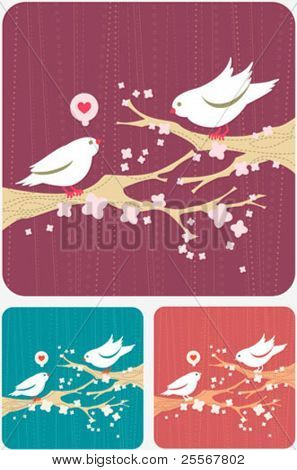 Modern background with cute cartoon birds on a spring blooming branches - three subdued colored illustration in maroon, emerald green, and bronze colors