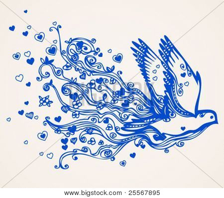 Hand drawn floral flying bird of peace - swirly doodle. Dove brings love and understanding