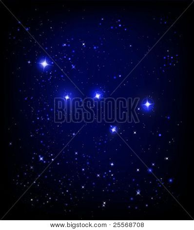 vector starry night sky and Cassiopeia constellation