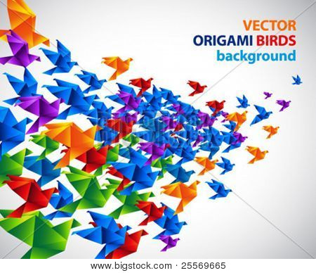 origami birds abstract background