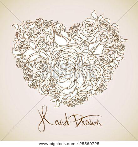 vintage floral background - heart shaped flowers