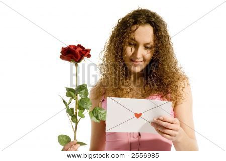 Attrractive Girl With Love-Letter
