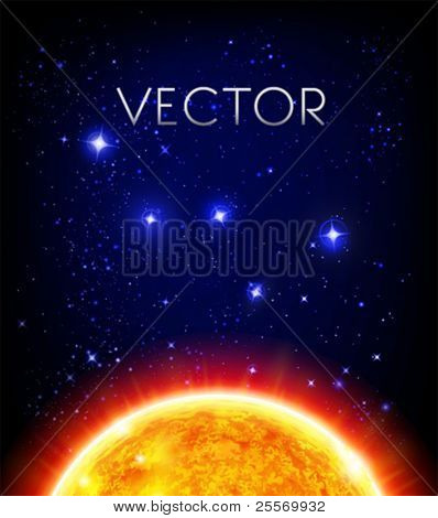 vector space background - sun, starry night sky, Cassiopeia / W constellation