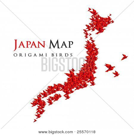 japan map shaped from origami birds - RASTER version