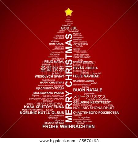 christmas tree shape from letters typographic composition merry christmas in different languages poster - Merry Christmas In Greek Language