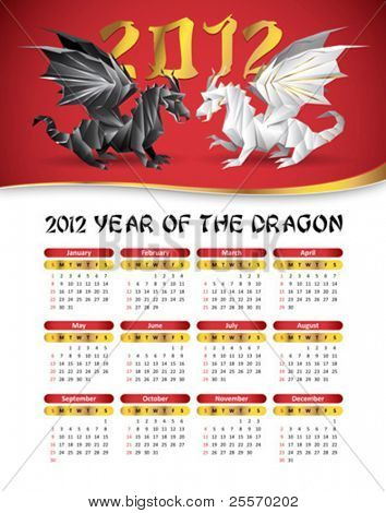 2012 calendar with dragons
