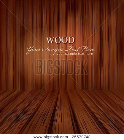 vector wooden planks interior with Illuminated