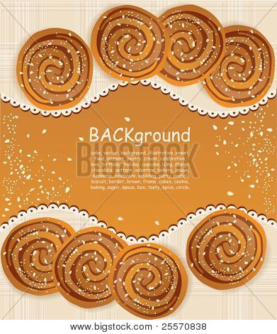 vector background with  cookies sprinkled with sesame seeds and sugar