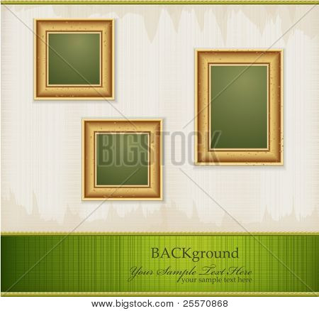 Vector vintage green abstract background with three gold frames