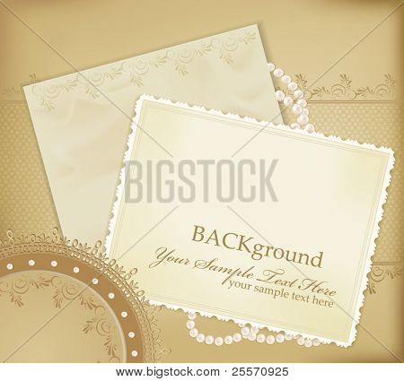 vector congratulation gold retro background with ,pearls, lace, letter
