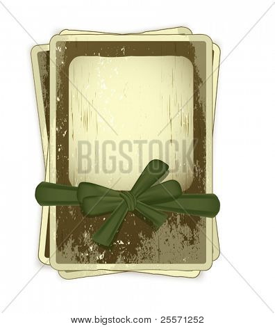 vector grunge background with old photo frames tied with green ribbon