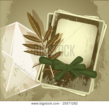 vector grunge background with old photo frames tied with green ribbon, envelopes and leaf
