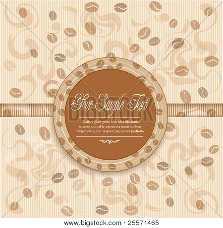 vector background with coffee stripes and Label