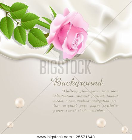 Elegant holiday vector background with silk, pearls and a pink rose
