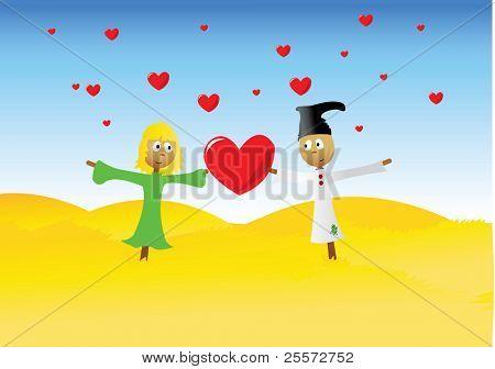 In love garden scarecrows