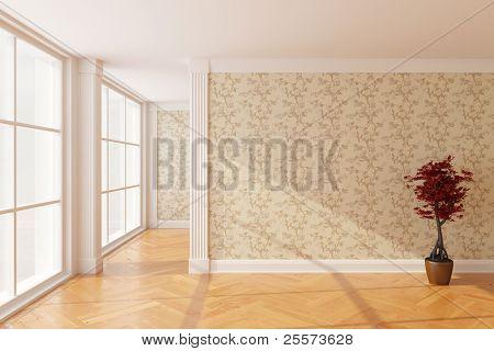 Empty new room with big window