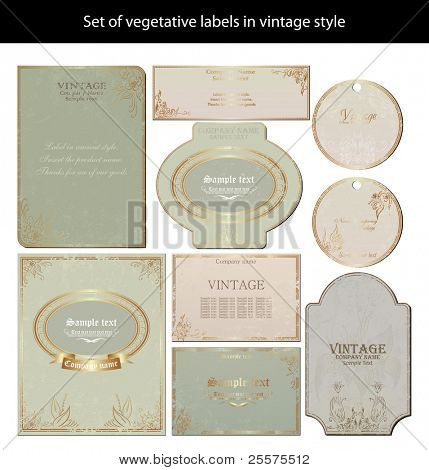 vector set: vintage labels - inspired by antique originals