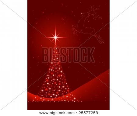 Vertical red background for Christmas, New Years Eve showing a Christmas tree made of stars and the silhouette of a reindeer in the sky. Global colors, blends.