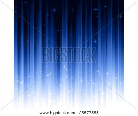 Stars on blue vertically striped background.  Stripes controlled by 1 linear gradient. Use of 10 global colors. Can be tiled horizontally to custom size.