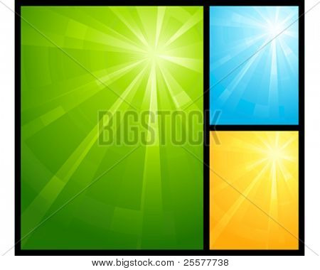Asymmetric light burst in three color schemes with the centre in the upper right third. Use of radial and linear gradients, global colors. No transparencies. Artwork grouped and layered.