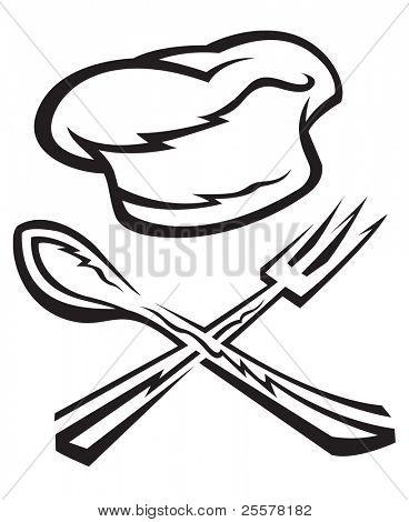 gorro de cocinero con cuchara y tenedor