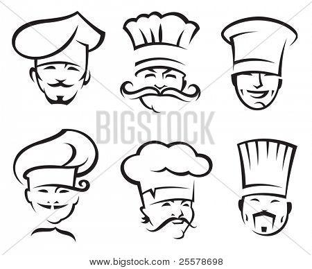 monochrome illustration of six chefs