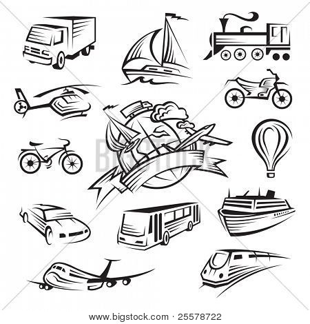 collection of icons of transport