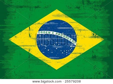 Brazilian grunge flag. A flag of Brazil with a texture.