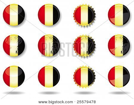 Belgian buttons set. A set of belgian buttons and caps.