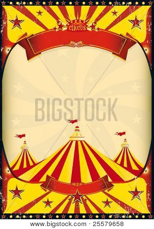 circus poster big top. A grunge vintage poster with a circus tent for your advertising