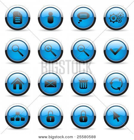 Blue vector media and web icon (set 3)